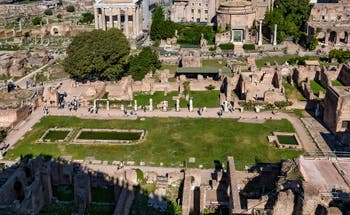 The Atrium of the Vestals House and ponds surrounded by the Vestals' statues, in the Roman Forum in Rome in Italy