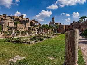 The Atrium of the Vestals House and ponds with pure water, in the Roman Forum in Rome in Italy