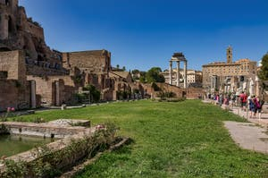 The Atrium of the Vestals House in the Roman Forum in Rome in Italy