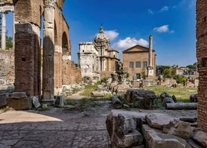 The Roman Forum Temples and ruins in Rome in Italy
