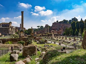 The Roman Forum with the Foca Column and Castor and Pollux Temple in Rome in Italy