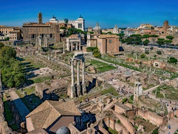 The Roman Forum seen from the Palatine Mount in Rome in Italy