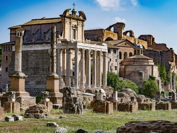 The Temple of Antoninus and Faustina in the Roman Forum in Rome in Italy