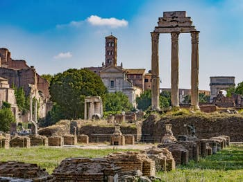 The Temple of Castor and Pollux, the Dioscuri and its three columns at the Roman Forum in Rome Italy