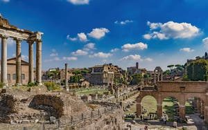 The Roman Forum and the Saturn Temple Columns, in Rome in Italy