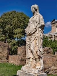 Vestal' Statue in the Roman Forum in Rome in Italy