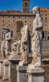 The Vestals' Statues along the Vestals Atrium in the Roman Forum in Rome in Italy