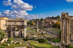 The Roman Forum with the Septimius Severus Triomphal Arch, the Foca Column and Castor and Pollux Temple in Rome in Italy