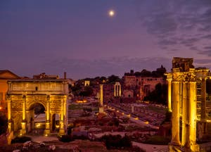 The Roman Forum with the Septimius Severus Triomphal Arch and the Concord Temple in Rome in Italy