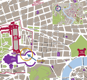 Location Map of St. Peter's Basilica of the Vatican in Romee