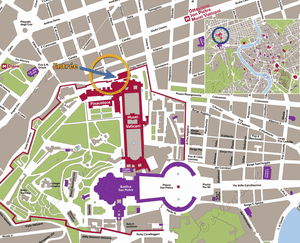 Location map of the Vatican Museums in Romee