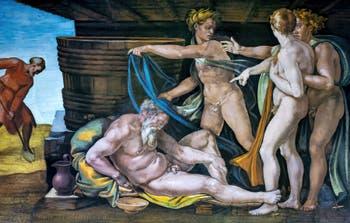 Michelangelo Sistine Chapel ceiling frescoe, Noah's drunkenness, in the Vatican City in Rome