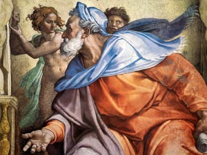 Michelangelo Sistine Chapel ceiling frescoe, the prophet Ezekiel, in the Vatican City in Rome