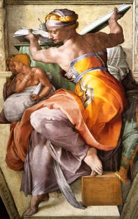Michelangelo Sistine Chapel ceiling frescoe, Libyan Sibyl, in the Vatican City in Rome