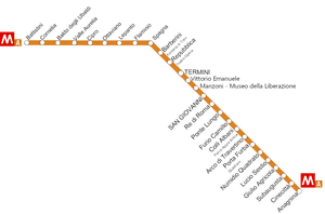 Map of Metro Line A Rome in Italy
