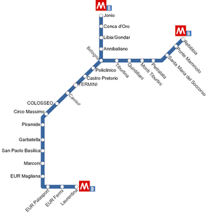 Map of Metro Line B Rome in Italy